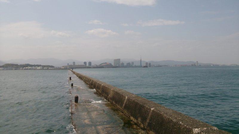 赤灯台から見た堤防